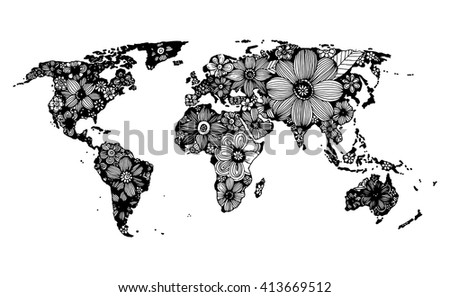 Hand drawn black map download free vector art stock graphics images floral world map hand drawn black and white doodle vector gumiabroncs Images