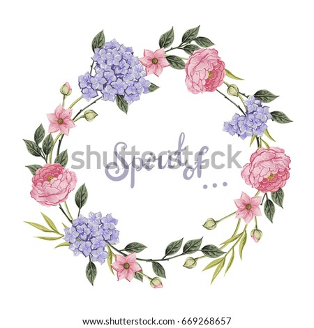 Floral wreath. Bouquet of roses, hortensia and anemone. Vintage vector illustration. Classic. pastel color. wreath shape with phrase Spirit of. for textile, t shirts, greetings card #669268657