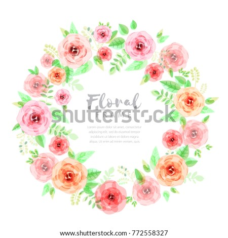 Floral wreath in watercolor style #772558327
