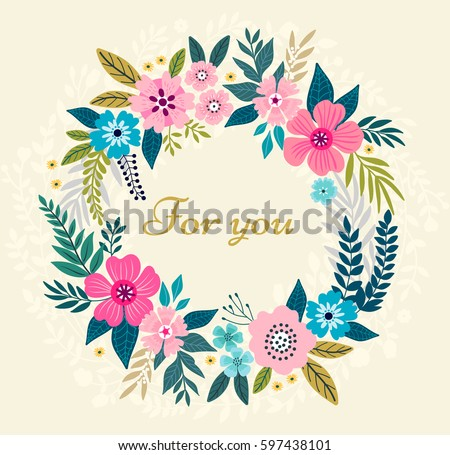 Floral Wreath On White Background Bright Colorful Spring Flowers Vector Frame Template