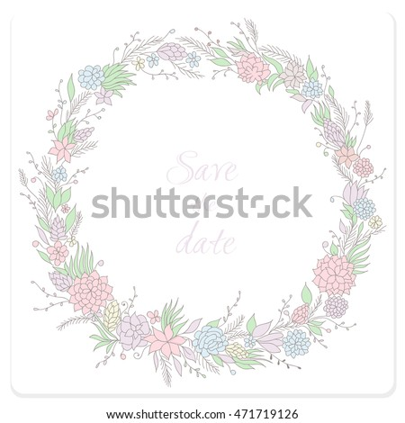 floral wreath vector hand drawn wreath with flowers for invitations