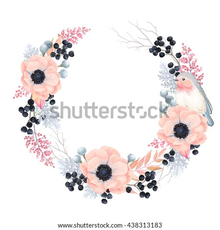 Floral Wreath with flowers Anemones, leaves, branches, wild Privet Berry and Robin bird, vector floral illustration in vintage watercolor style.