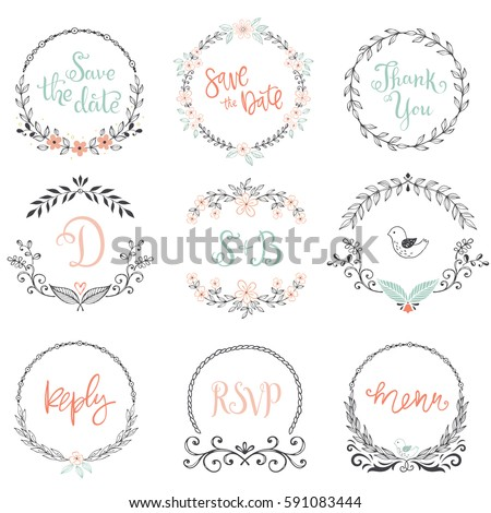 Floral wreaths and frames collection. Set of cute hand drawing retro rustic design elements perfect for wedding invitations, save the date, thank you, reply and birthday cards. Vector illustration.