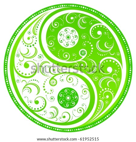 Floral Yin Yang symbol, symbol of the interplay of forces in the universe. Vector illustration.