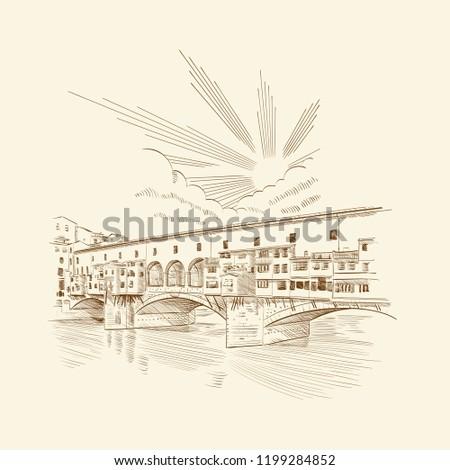 Florence, Italy. Ponte Vecchio bridge. Vector illustration.