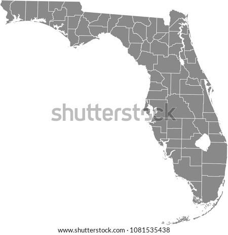 florida county map vector...