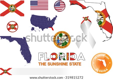florida icons set of vector