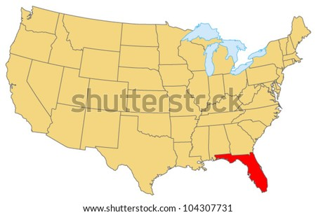 Florida Locate Map - stock vector