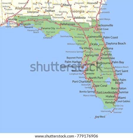 Map Of Florida Roads.Florida Map Vector Download Free Vector Art Stock Graphics Images