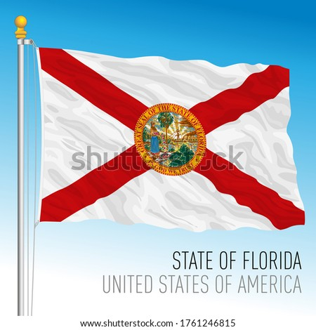 Florida official flag, United States of America, USA, vector illustration