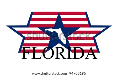 Florida state map, flag and name. - stock vector