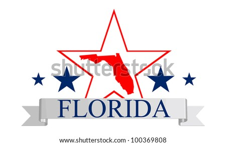 Florida state map, star and name.