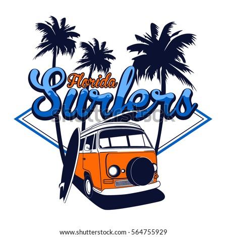 florida surfers vector t shirt
