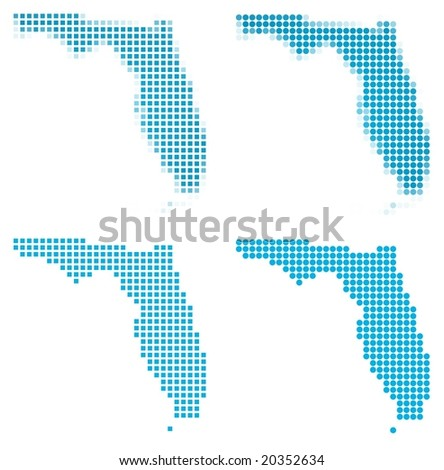 Florida (USA) map mosaic set. Isolated on white background. - stock vector