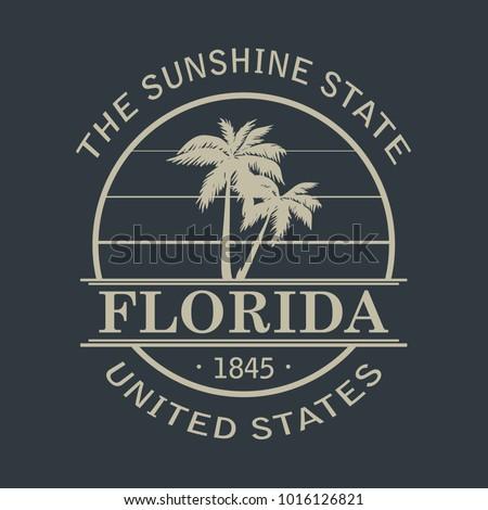 Florida Vintage T-Shirt Design Black And White. Vector.