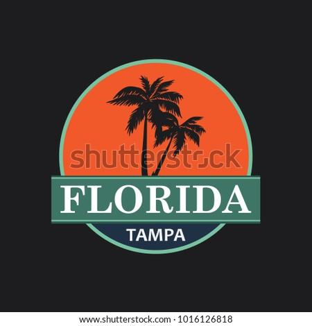 Florida Vintage T-Shirt Design. Vector.