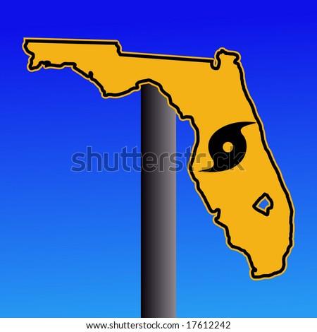 Florida warning sign with hurricane symbol on blue illustration