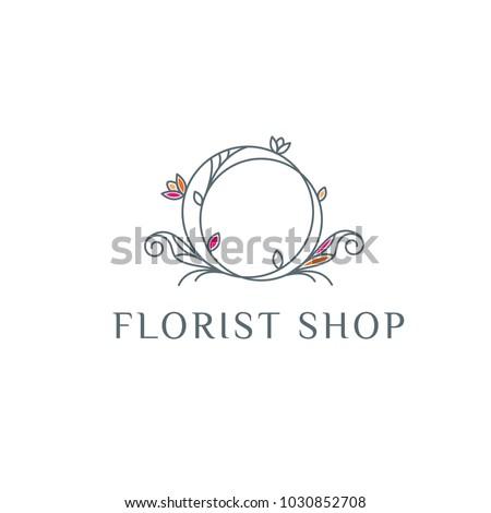 Florist vector logo . Flower shop emblem
