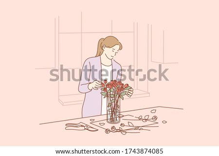 Floristics, business, decoration concept. Young happy smiling busineswoman girl florist cartoon character making bouquet of roses in flower shop for customer. Creative occupation in floral boutique.