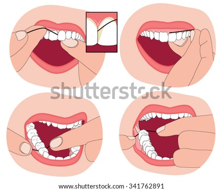 flossing teeth  showing the
