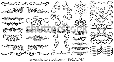 Flourish and Swirl vector. Collection or set of vintage styled calligraphic ornaments.