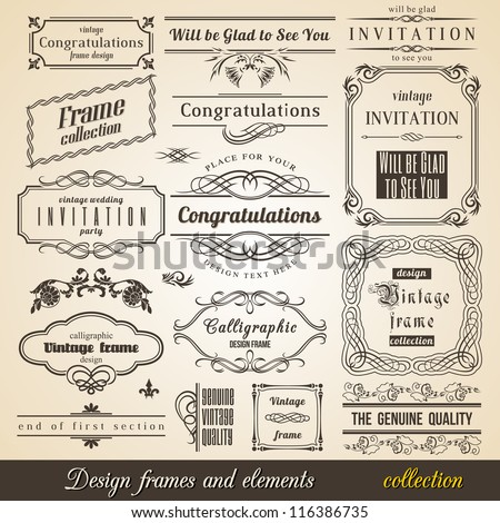 Flourish Border Corner and Frame collection. Vector Card Invitation text. Victorian Grunge Calligraphic Frame Collection. Wedding Invitations Set. Medieval Ornament Borders. Flower and Leaf Silhouette