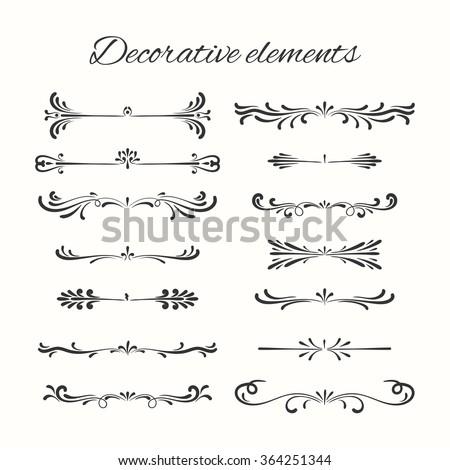 Flourish elements. Hand drawn dividers set. Ornamental decorative element. Vector ornate design.