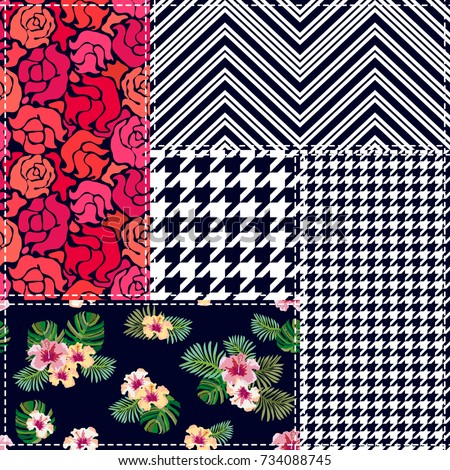 Flourish patchwork design. Set of checkered and floral seamless vector patterns. Vintage composition with roses and palm leaves. Retro textile collection. Black, red, green, white. #734088745