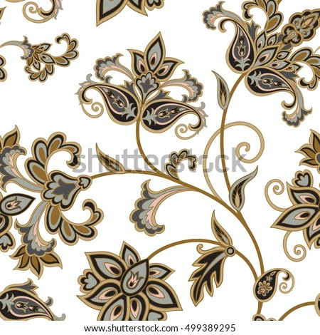 Flourish tiled pattern. Floral oriental ethnic background. Arabic ornament with fantastic flowers and leaves. Wonderland motives of vintage stylish Indian fabric patterns.