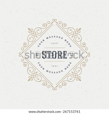 Flourishes calligraphic monogram emblem template. Luxury elegant frame ornament line logo design vector illustration. Good for Royal sign, Restaurant, Boutique, Cafe, Hotel, Heraldic, Jewelry, Fashion