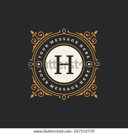 Flourishes calligraphic monogram emblem template. Luxury elegant frame ornament line logo design vector illustration. Good for Royal sign, Restaurant, Boutique, Cafe, Hotel, Heraldic, Jewelry, Fashion