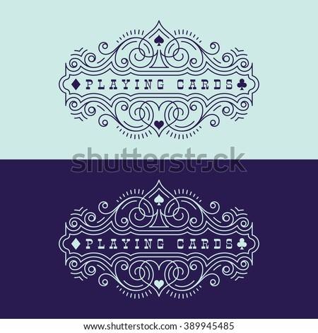 Flourishes luxury elegant ornament label template with playing card suit symbols in trendy linear style. Vector illustration.