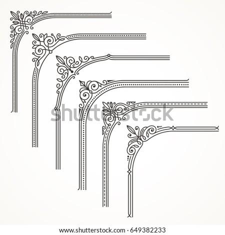 Flourishes ornate frame or corner design elements. Vector illustration.