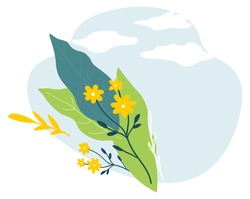 Flourishing flowers and foliage, leaves and blooming plants. Empty or blank banner with sky and clouds. Spring and summer blossom and flowering, greeting or invite card design. Vector in flat style