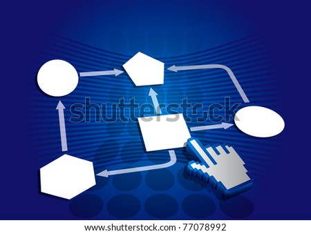 Flow chart abstract illustration with hand icon