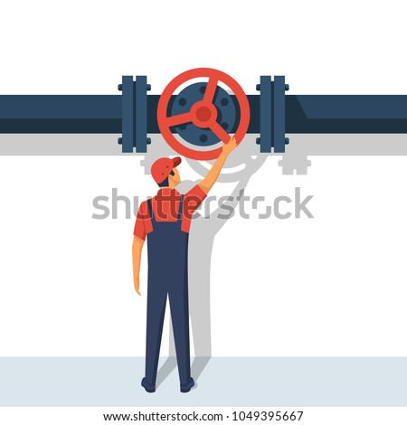Flow control. Vector illustration flat design. Isolated on white background. Man working standing on the pipeline opening the valve. Oil and gas operations.