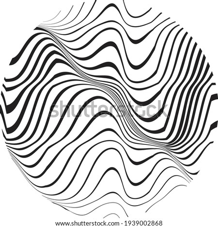 Flow Lines in Circle Form . Spiral Vector Illustration .Technology round Logo . Design element . Abstract Geometric shape . Striped border