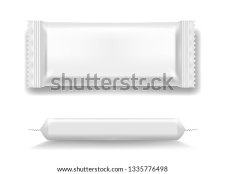 Flow pack. Pack for cookie and snack, chocolate and food in cafe, bakery or bar template, vector illustration