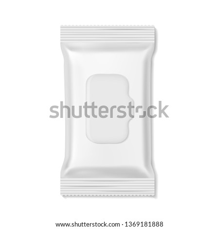 Flow pack. Wet wipes packs hygiene medicine pharmacy beauty empty mockup, snack biscuit candy realistic wrap. White clean box template vector isolated