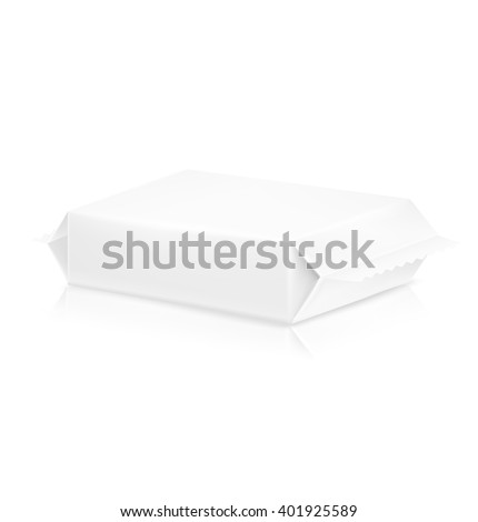 Flow pack with realistic transparent shadow on white background. Vector template ready for your design.