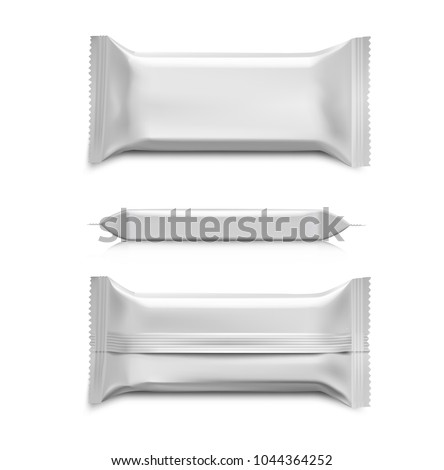 Flow pack with realistic transparent shadows on white background. Vector illustration ready for your design. EPS10.