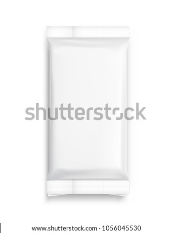 Flow pack with realistic transparent shadows on white background. Vector template ready for your design, food, hygiene. EPS10.