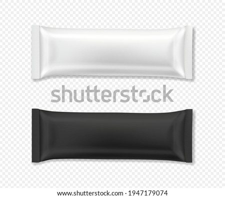 Flow package mockup. Vector realistic illustration of chocolate bar wrapper pack, in white and black color, top view. Ready to eat snack in blank foil wrapper for product design and branding.