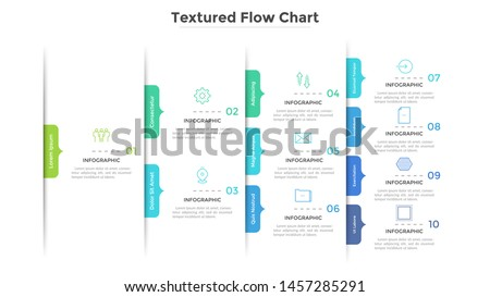 Flowchart, tree diagram or workflow chart with arrow-like elements. Concept of stages of business project. Modern infographic design template. Flat vector illustration for presentation, report.