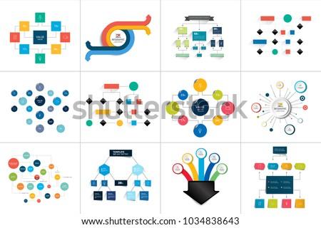 Flowcharts schemes, diagrams. Mega set. Simply color editable. Infographics elements.