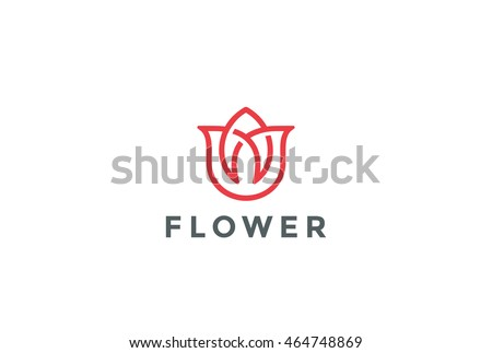 Flower abstract Logo design vector template Linear style.