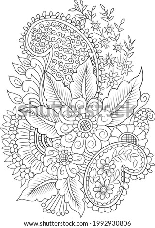 Flower adult coloring page hand drew illustration zentangle background line rate flower page