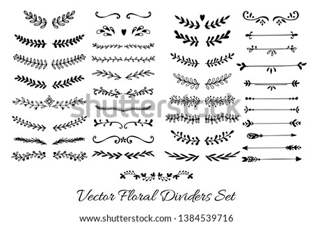 Flower and Arrows Ornament Dividers. Hand drawn decoration, floral ornamental divider, arrows and sketch leaves ornaments. Doodle leaves and flourish divider set. Vector Illustration.