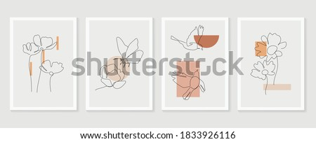 Flower and bird wall art vector set. Earth tone boho foliage flower line art drawing with  bird and butterfly.  Abstract Plant Art design for print, cover, wallpaper, Minimal and  natural wall art.