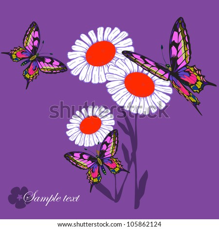 Flower and butterfly - stock vector